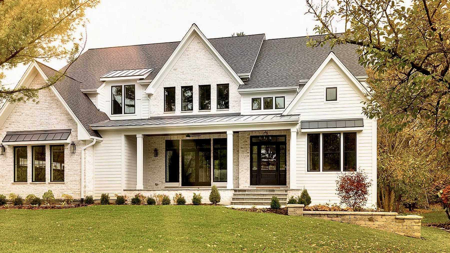 Exterior White Siding and Brick with Black Doors and Windows in 2936 Black Emerald by Sherwin Will
